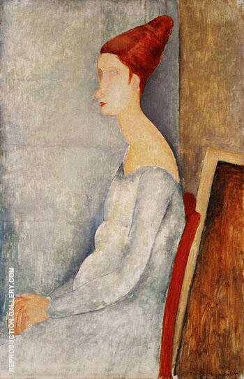 Jeanne Hebuterne Seated in Profile By Amedeo Modigliani