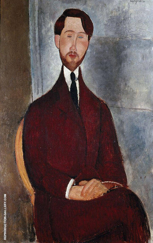 Portrait of Leopold Zborowski By Amedeo Modigliani Replica Paintings on Canvas - Reproduction Gallery