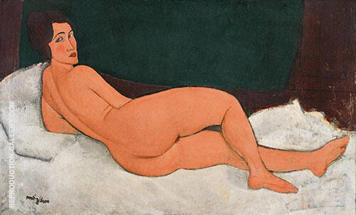 Reproduction of Nu Couche, Nude Looking Over Her Right Shoulder 1917 by Amedeo Modigliani | Oil Painting Replica On CanvasReproduction Gallery
