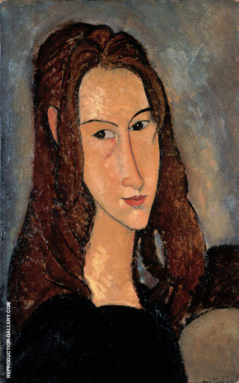 Portrait of Jeanne Hebuterne Head in Profile 1918 By Amedeo Modigliani Replica Paintings on Canvas - Reproduction Gallery