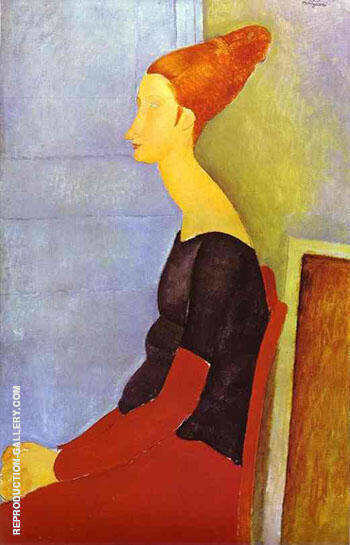 Portrait of Jeanne Hebuterne in Profile 1918 By Amedeo Modigliani - Oil Paintings & Art Reproductions - Reproduction Gallery