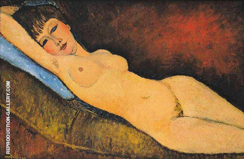 Reclining Nude with Blue Cushion 1917 By Amedeo Modigliani