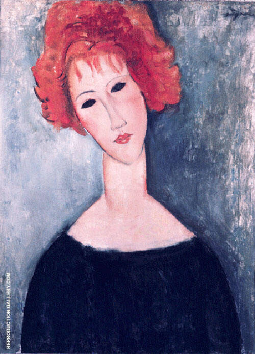 Redhead By Amedeo Modigliani Replica Paintings on Canvas - Reproduction Gallery