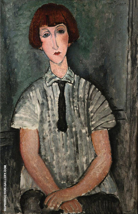 Young Girl in a Striped Shirt Painting By Amedeo Modigliani