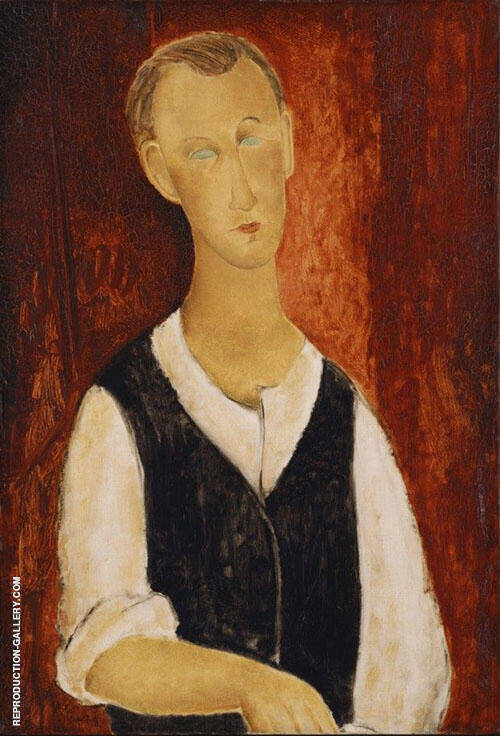 Young Man with a Black Waistcoat 1912 By Amedeo Modigliani