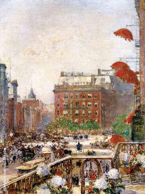 View of Broadway and Fifth Avenue By Childe Hassam Replica Paintings on Canvas - Reproduction Gallery