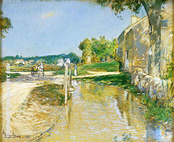 A Country Road By Childe Hassam - Oil Paintings & Art Reproductions - Reproduction Gallery