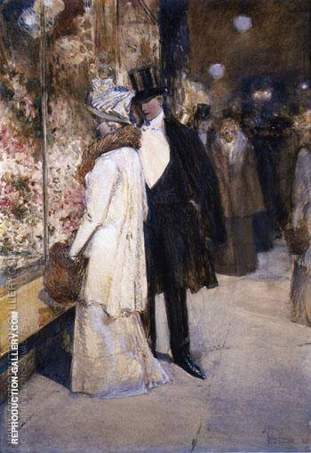 A New Years Nocturne New York By Childe Hassam Replica Paintings on Canvas - Reproduction Gallery