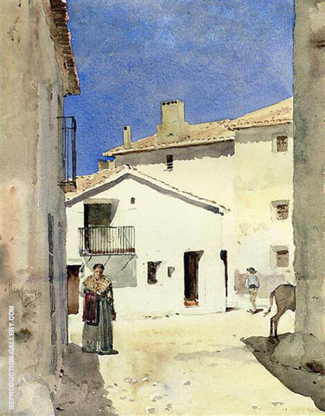 Reproduction of A Street in Denia Spain by Childe Hassam | Oil Painting Replica On CanvasReproduction Gallery