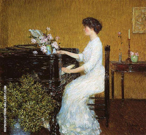 At The Piano Painting By Childe Hassam - Reproduction Gallery