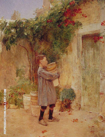 Boy with Flower Pots 1888 Painting By Childe Hassam - Reproduction Gallery