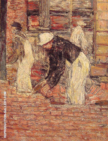 Bricklayers c1900 By Childe Hassam - Oil Paintings & Art Reproductions - Reproduction Gallery