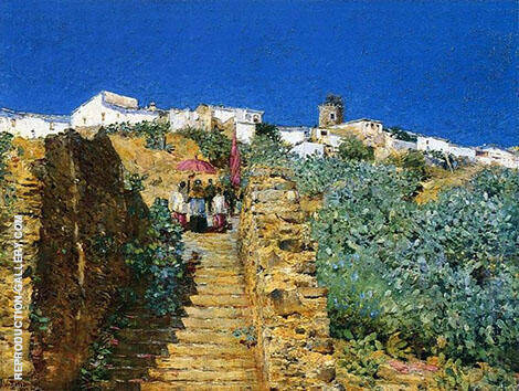 Church Procession Spanish Steps c1883 By Childe Hassam Replica Paintings on Canvas - Reproduction Gallery
