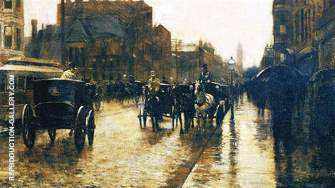 Columbus Avenue Rainy Day 1885 A By Childe Hassam - Oil Paintings & Art Reproductions - Reproduction Gallery