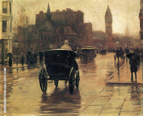 Columbus Avenue Rainy Day c1885 B By Childe Hassam