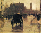 Columbus Avenue Rainy Day c1885 B By Childe Hassam