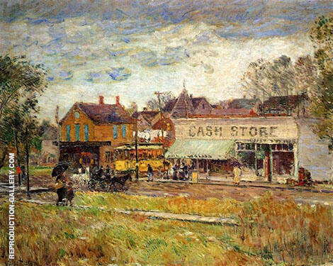 End of The Trolley Line Oak Park Illinois 1893 By Childe Hassam - Oil Paintings & Art Reproductions - Reproduction Gallery
