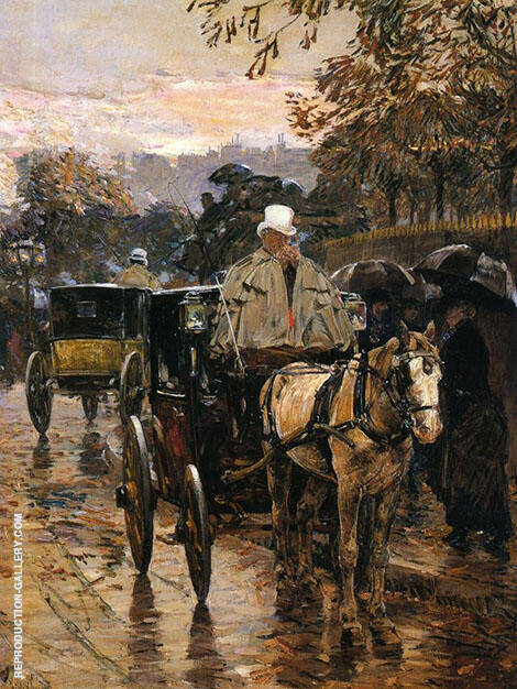 Hackney Carriage Rue Bonaparte By Childe Hassam - Oil Paintings & Art Reproductions - Reproduction Gallery