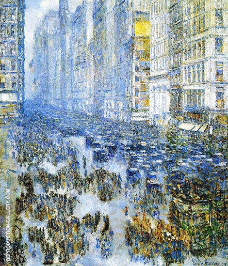 Fifth Avenue in Winter 1919 A By Childe Hassam - Oil Paintings & Art Reproductions - Reproduction Gallery