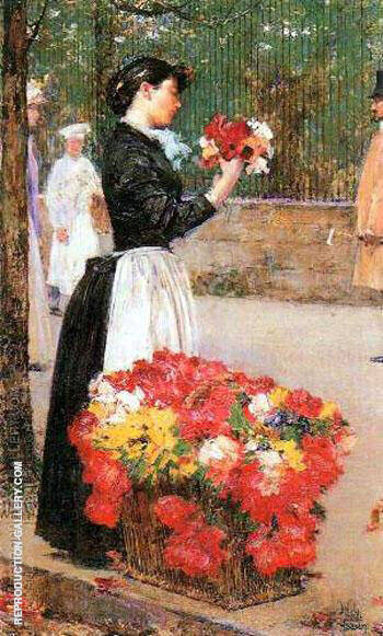 Flower Girl By Childe Hassam - Oil Paintings & Art Reproductions - Reproduction Gallery