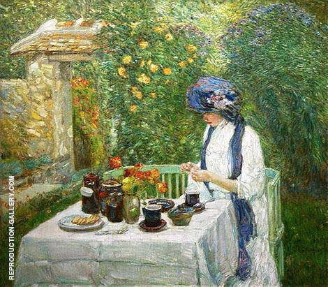 French Tea Garden 1910 By Childe Hassam Replica Paintings on Canvas - Reproduction Gallery