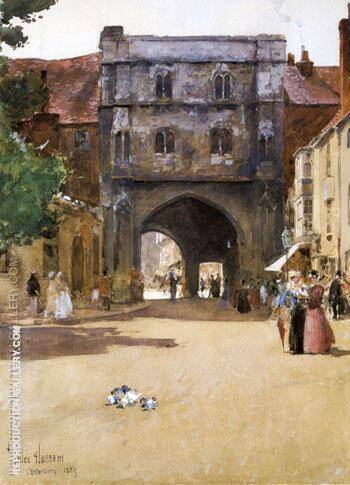 Gateway at Canterbury By Childe Hassam - Oil Paintings & Art Reproductions - Reproduction Gallery