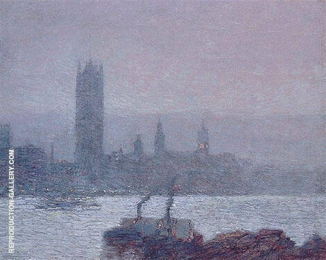 Houses of Parliament Early Evening 1898 By Childe Hassam - Oil Paintings & Art Reproductions - Reproduction Gallery