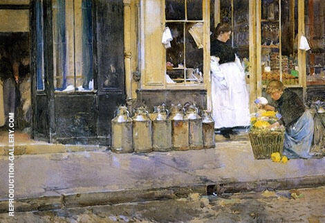 La Bouquetiere and La Latiere 1888 By Childe Hassam