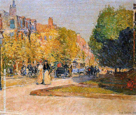 Marlborough Street Boston By Childe Hassam - Oil Paintings & Art Reproductions - Reproduction Gallery