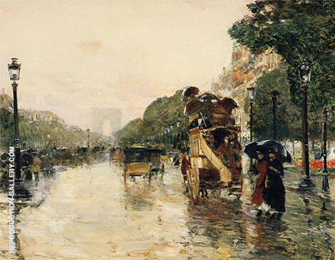 Champs Eylysees, Paris By Childe Hassam - Oil Paintings & Art Reproductions - Reproduction Gallery