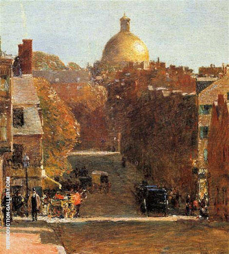 Reproduction of Mount Vernon Street Boston 1890 by Childe Hassam | Oil Painting Replica On CanvasReproduction Gallery