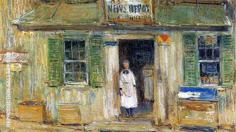 News Depot at Cos Cob By Childe Hassam Replica Paintings on Canvas - Reproduction Gallery