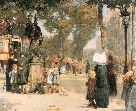 Paris Street Scene 1887 By Childe Hassam Replica Paintings on Canvas - Reproduction Gallery