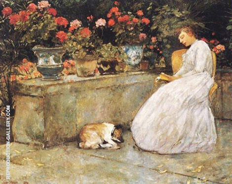 Reading 1888 By Childe Hassam - Oil Paintings & Art Reproductions - Reproduction Gallery