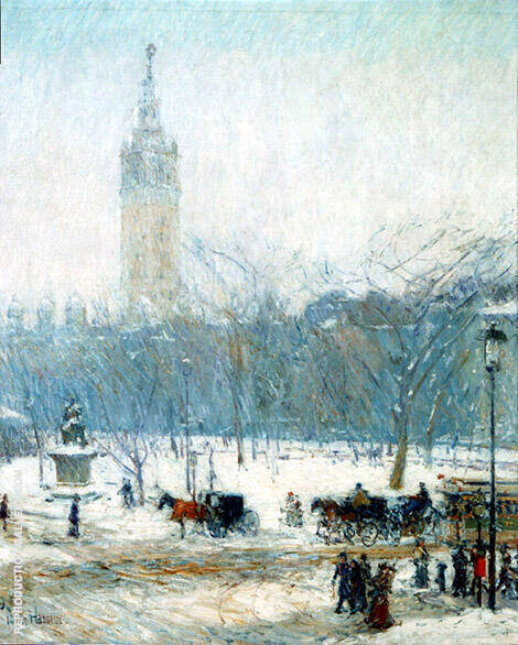 Snowstorm Madison Square c1890 By Childe Hassam - Oil Paintings & Art Reproductions - Reproduction Gallery