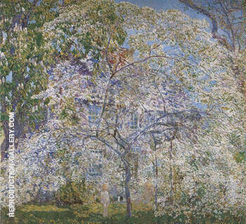 Reproduction of Spring The Dogwood Tree by Childe Hassam | Oil Painting Replica On CanvasReproduction Gallery
