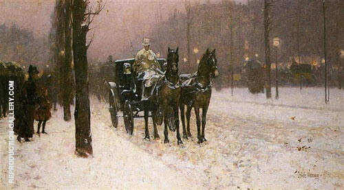 Street Scene with Hansom Cab 1887 By Childe Hassam