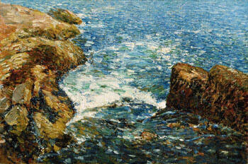 Surf and Rocks 1906 By Childe Hassam - Oil Paintings & Art Reproductions - Reproduction Gallery