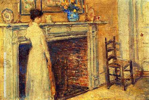 The Fireplace 1912 By Childe Hassam Replica Paintings on Canvas - Reproduction Gallery