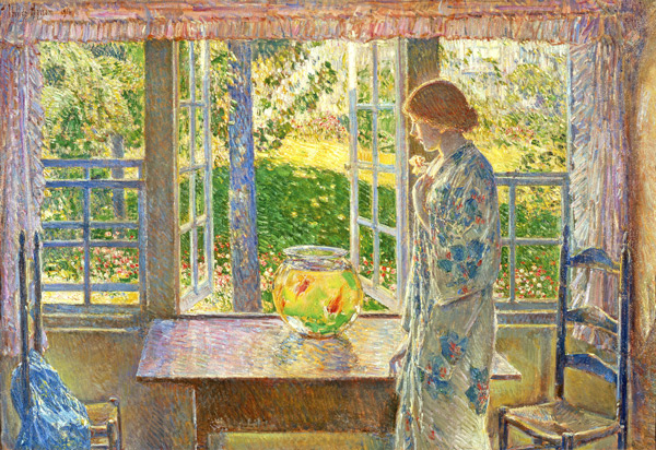 The Goldfish Window by Childe Hassam | Oil Painting Reproduction Replica On Canvas - Reproduction Gallery