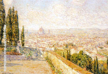 View of Florence From San Miniato By Childe Hassam Replica Paintings on Canvas - Reproduction Gallery