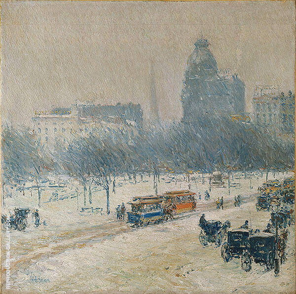 Winter In Union Square c1892 By Childe Hassam