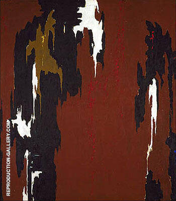 1946 H Indian Red and Black Painting By Clyfford Still