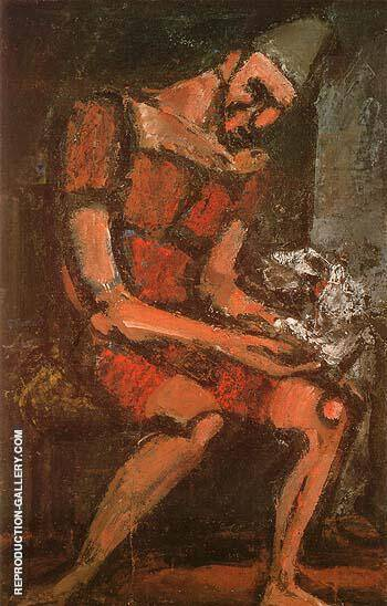Old Clown with White Dog 1925 Painting By George Rouault