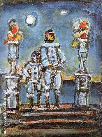 Blue Pierrots 1943 Painting By George Rouault - Reproduction Gallery
