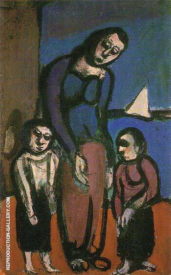 Hardships in the Suburbs A Mother and her Sons 1911 By George Rouault Replica Paintings on Canvas - Reproduction Gallery