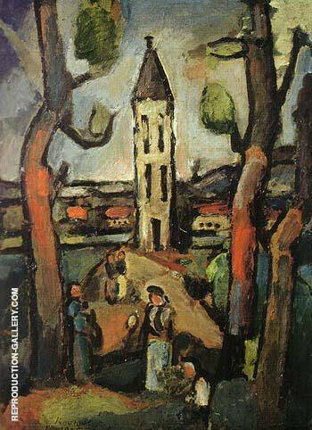 Landscape with Large Trees 1915 By George Rouault Replica Paintings on Canvas - Reproduction Gallery