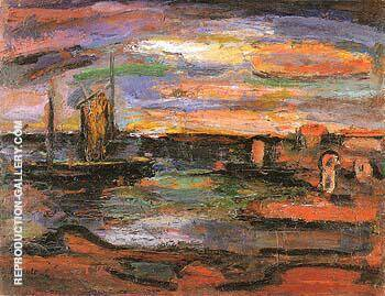 Reproduction of Twilight The Seashore 1939 by George Rouault | Oil Painting Replica On CanvasReproduction Gallery