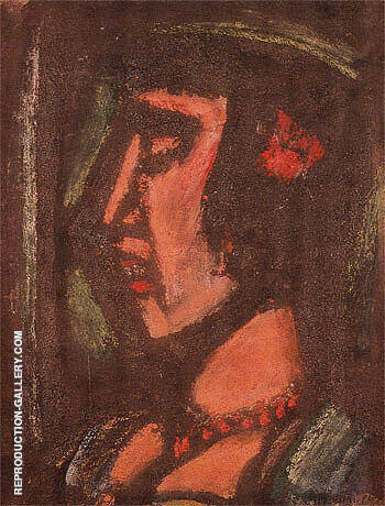 Bust of a Woman Wearing a Necklace 1930 By George Rouault Replica Paintings on Canvas - Reproduction Gallery
