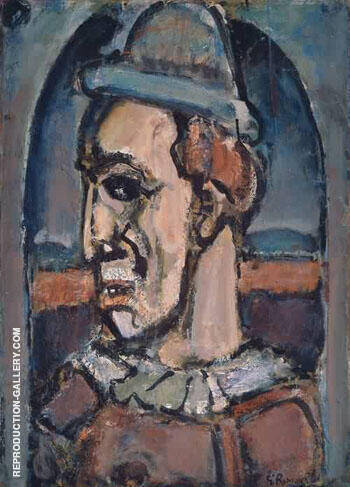 Profile of a Clown c1940 Painting By George Rouault - Reproduction Gallery